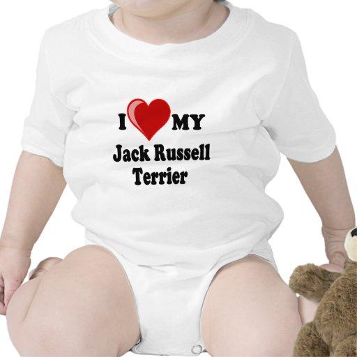 Amo (corazón) mi perro de Jack Russell Terrier Trajes De Bebé
