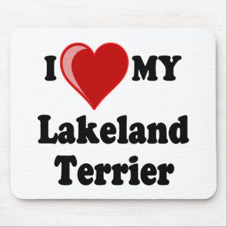 Amo (corazón) mi perro de Lakeland Terrier Tapete De Ratones