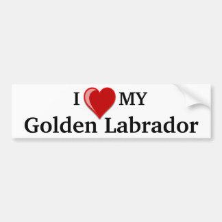 Amo (corazón) mi perro de oro de Labrador Pegatina De Parachoque
