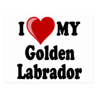 Amo (corazón) mi perro de oro de Labrador Postales
