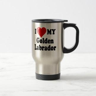 Amo (corazón) mi perro de oro de Labrador Taza De Viaje De Acero Inoxidable