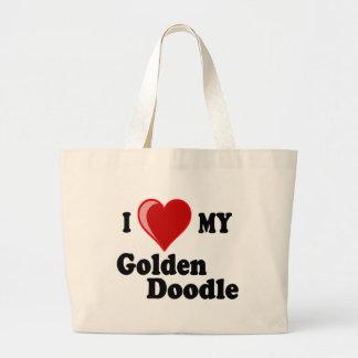 Amo (corazón) mi perro de oro del Doodle Bolsa Tela Grande