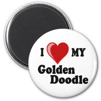 Amo (corazón) mi perro de oro del Doodle Imán Redondo 5 Cm