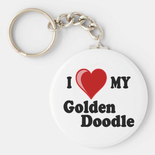 Amo (corazón) mi perro de oro del Doodle Llavero Redondo Tipo Pin