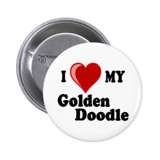 Amo (corazón) mi perro de oro del Doodle Pin Redondo 5 Cm