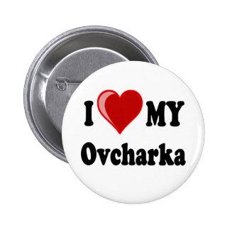 Amo (corazón) mi perro de Ovcharka Pin Redondo 5 Cm