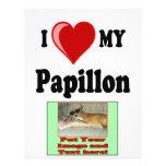 Amo (corazón) mi perro de Papillon Tarjeton