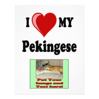 """Amo (corazón) mi perro de Pekingese Folleto 8.5"""" X 11"""""""
