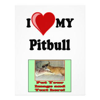 "Amo (corazón) mi perro de Pitbull Folleto 8.5"" X 11"""