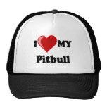 Amo (corazón) mi perro de Pitbull Gorras