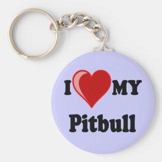 Amo (corazón) mi perro de Pitbull Llavero Redondo Tipo Pin