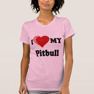 Amo (corazón) mi perro de Pitbull Camiseta