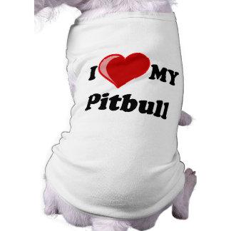 Amo (corazón) mi perro de Pitbull Playera Sin Mangas Para Perro
