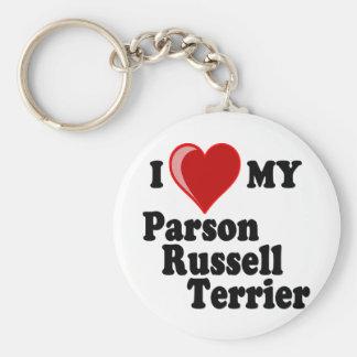 Amo (corazón) mi perro de Russell Terrier del párr Llaveros