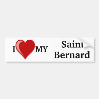 Amo (corazón) mi perro de St Bernard Pegatina Para Auto