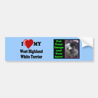 Amo (corazón) mi perro de Terrier blanco de montañ Pegatina Para Auto
