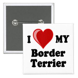 Amo (corazón) mi perro de Terrier de frontera Pin