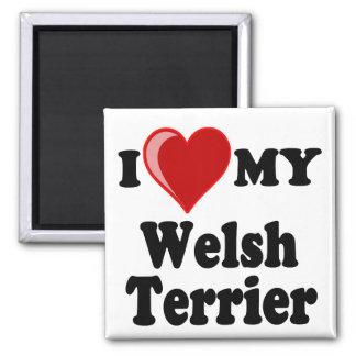 Amo (corazón) mi perro de Terrier galés Imán Cuadrado