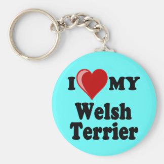 Amo (corazón) mi perro de Terrier galés Llavero Personalizado