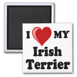 Amo (corazón) mi perro de Terrier irlandés Imán Cuadrado