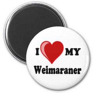 Amo (corazón) mi perro de Weimaraner Imán Redondo 5 Cm