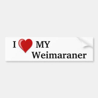 Amo (corazón) mi perro de Weimaraner Pegatina Para Auto