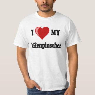 Amo (corazón) mi perro del Affenpinscher Playera