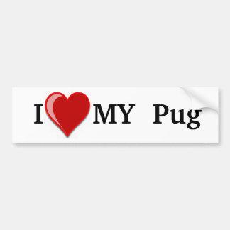 Amo (corazón) mi perro del barro amasado pegatina para auto