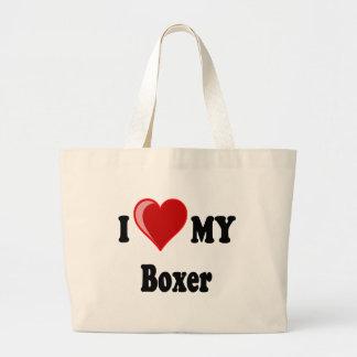 Amo (corazón) mi perro del boxeador bolsa tela grande