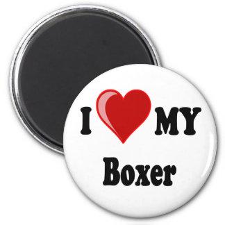Amo (corazón) mi perro del boxeador imán para frigorífico