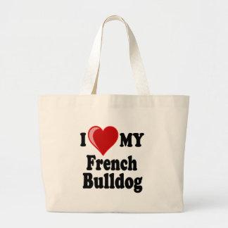 Amo (corazón) mi perro del dogo francés bolsa tela grande