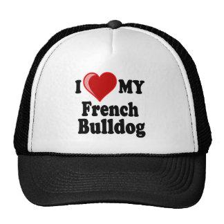 Amo (corazón) mi perro del dogo francés gorros bordados