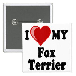 Amo (corazón) mi perro del fox terrier pin cuadrada 5 cm