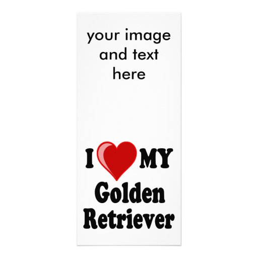 Amo (corazón) mi perro del golden retriever tarjeta publicitaria a todo color
