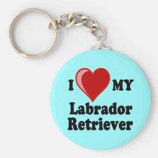 Amo (corazón) mi perro del labrador retriever llavero redondo tipo pin