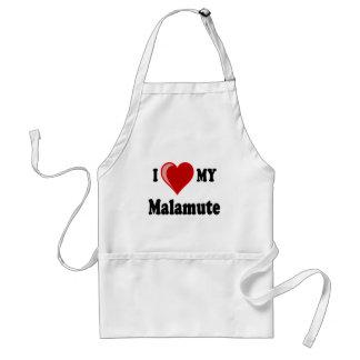 Amo (corazón) mi perro del Malamute Delantal