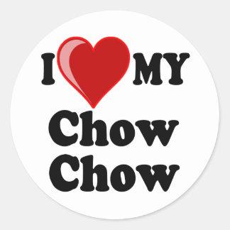 Amo (corazón) mi perro del perro chino de perro pegatina redonda