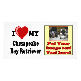Amo (corazón) mi perro del perro perdiguero de tarjeta fotográfica personalizada