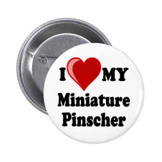 Amo (corazón) mi perro del Pinscher miniatura Pin Redondo 5 Cm