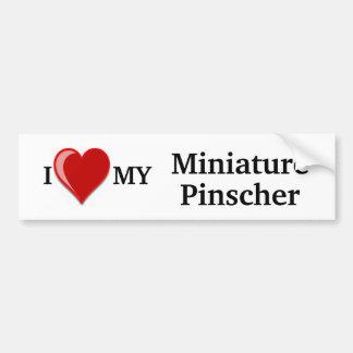 Amo (corazón) mi perro del Pinscher miniatura Pegatina Para Auto