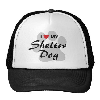 Amo (corazón) mi perro del refugio gorra