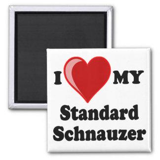 Amo (corazón) mi perro del Schnauzer estándar Imán Cuadrado