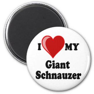 Amo (corazón) mi perro del Schnauzer gigante Imán Redondo 5 Cm