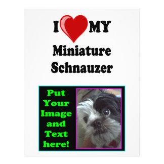 """Amo (corazón) mi perro del Schnauzer miniatura Folleto 8.5"""" X 11"""""""