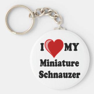 Amo (corazón) mi perro del Schnauzer miniatura Llavero Redondo Tipo Pin