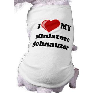 Amo (corazón) mi perro del Schnauzer miniatura Playera Sin Mangas Para Perro