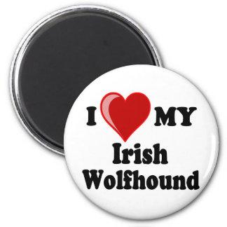 Amo (corazón) mi perro del Wolfhound irlandés Imán Redondo 5 Cm