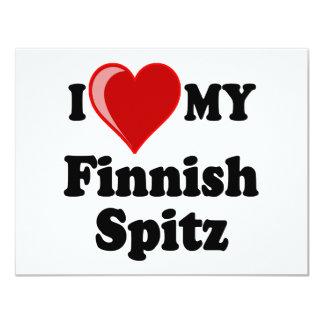 """Amo (corazón) mi perro finlandés del perro de invitación 4.25"""" x 5.5"""""""