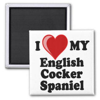 Amo (corazón) mi perro inglés de cocker spaniel imanes para frigoríficos