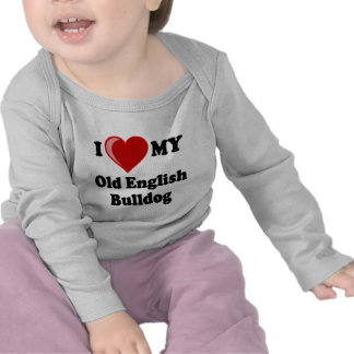 Amo (corazón) mi perro inglés viejo del dogo camisetas